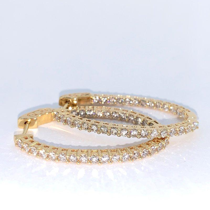 Decor 2.00ctw Diamond Oval Hoop Earrings