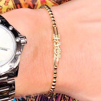 Gold Beaded Love Diamond Slider Bracelet
