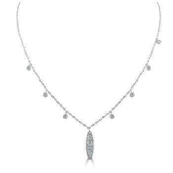 Pave Diamond Oval Necklace