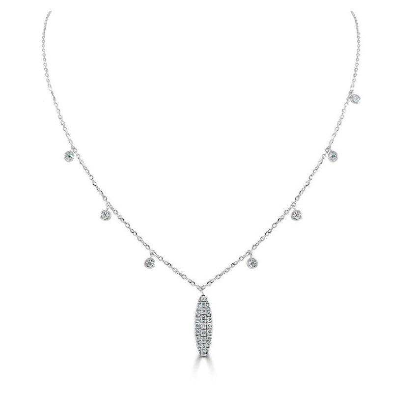 Sabrina Pave Diamond Oval Necklace