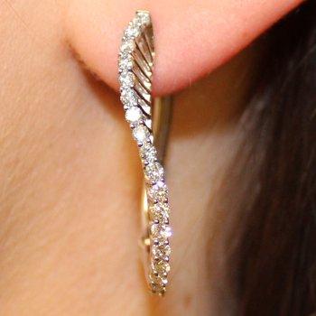 1CTW Diamond Swirl Hoop Earrings