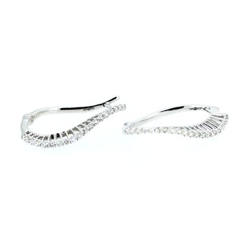 1CTW Diamond Swirl Hoop Earrings