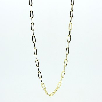 Yellow Gold Paperclip Chain Necklace