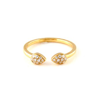 Open Pear Shape Pave Diamond Ring