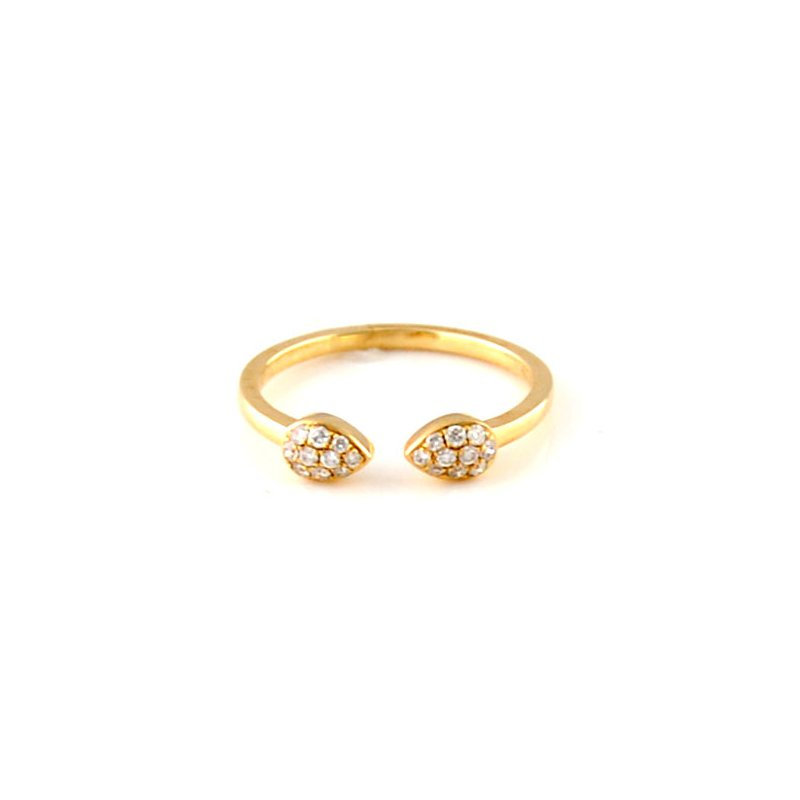 Decor Open Pear Shape Pave Diamond Ring