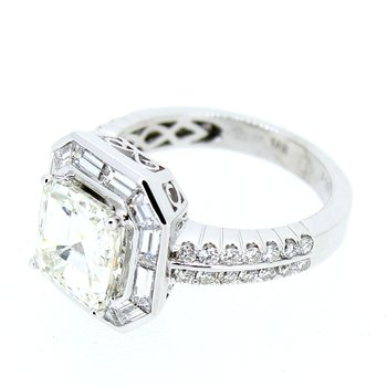 Asscher & Baguette Diamond Halo Ring