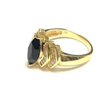 Dark Blue Sapphire and Diamond Ring