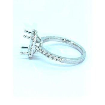 Rectangle Diamond Halo Ring Mounting