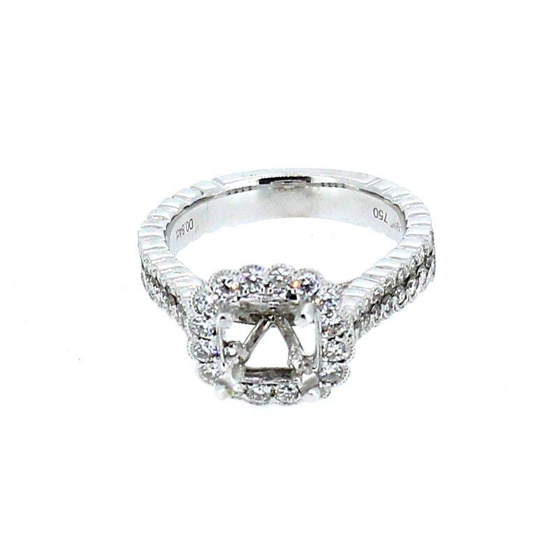 Decor Scalloped Diamond Halo Semi Mount