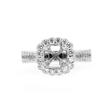 Scalloped Diamond Halo Semi Mount
