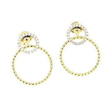 Diamond Circle Stud Earrings with Beaded Circle Drop