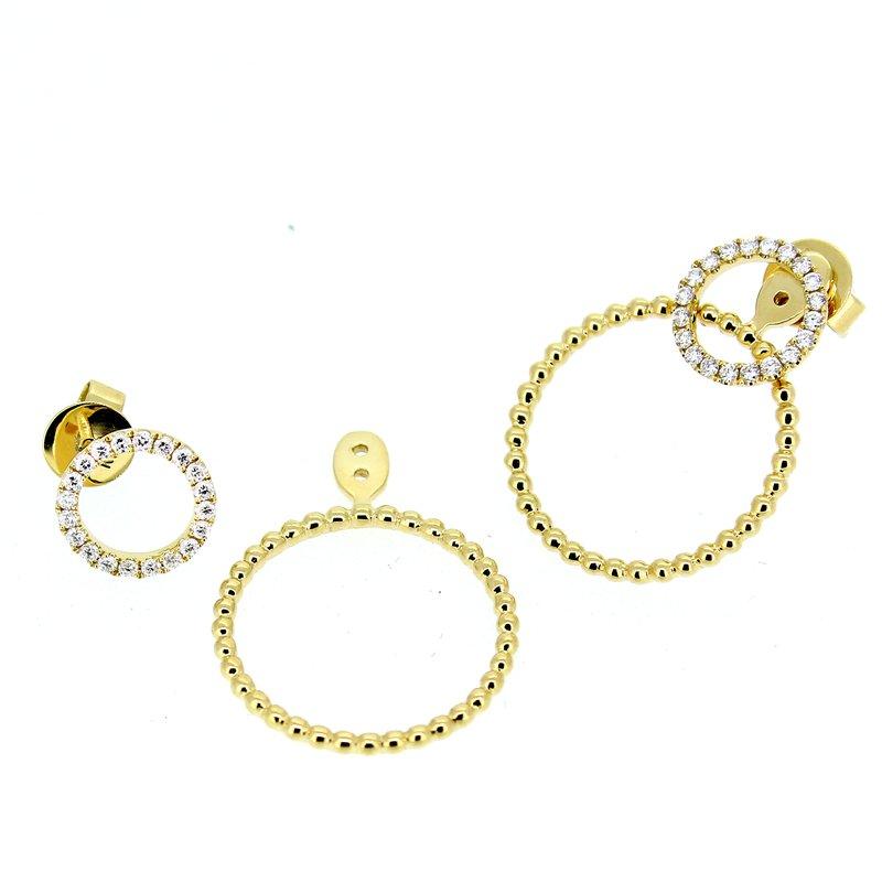 Decor Diamond Circle Stud Earrings with Beaded Circle Drop