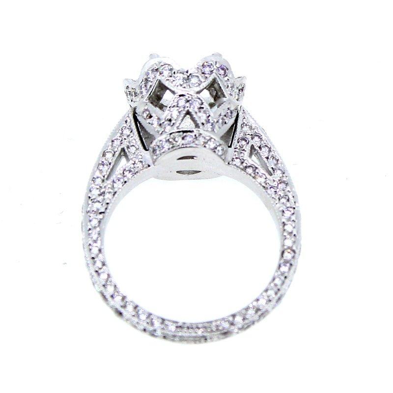 Decor Crown Pave Halo Diamond Ring Mounting