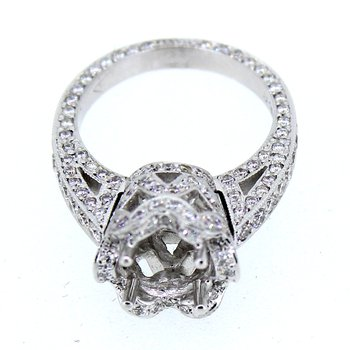 Crown Pave Halo Diamond Ring Mounting