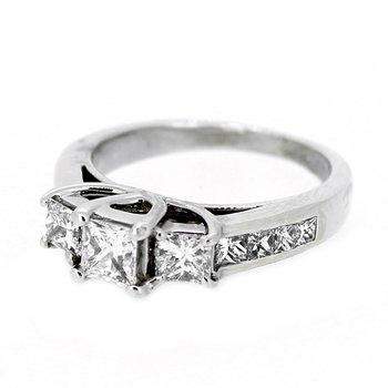 Princess Cut Three Stone Diamond Ring