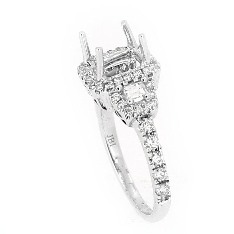 Decor Three Stone Halo Diamond Ring Mounting