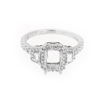 Three Stone Halo Diamond Ring Mounting