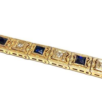 Synthetic Sapphire and Diamond Vintage Bracelet