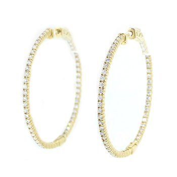 Round Diamond Hoops with Diamonds Inside & Outside
