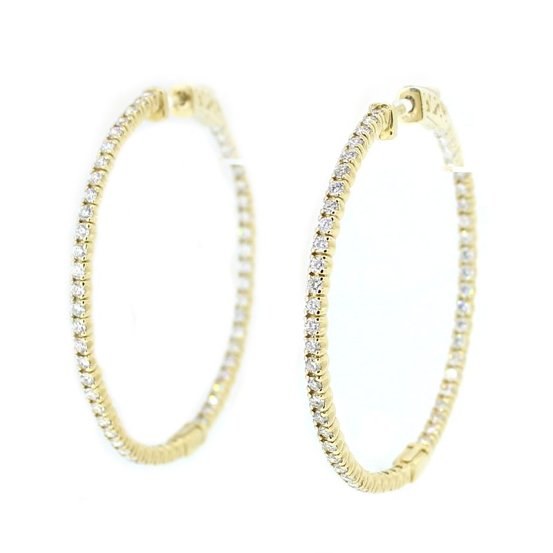Decor Round Diamond Hoops with Diamonds Inside & Outside