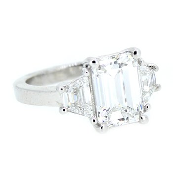 3.90ctw Platinum Three Stone Diamond Ring