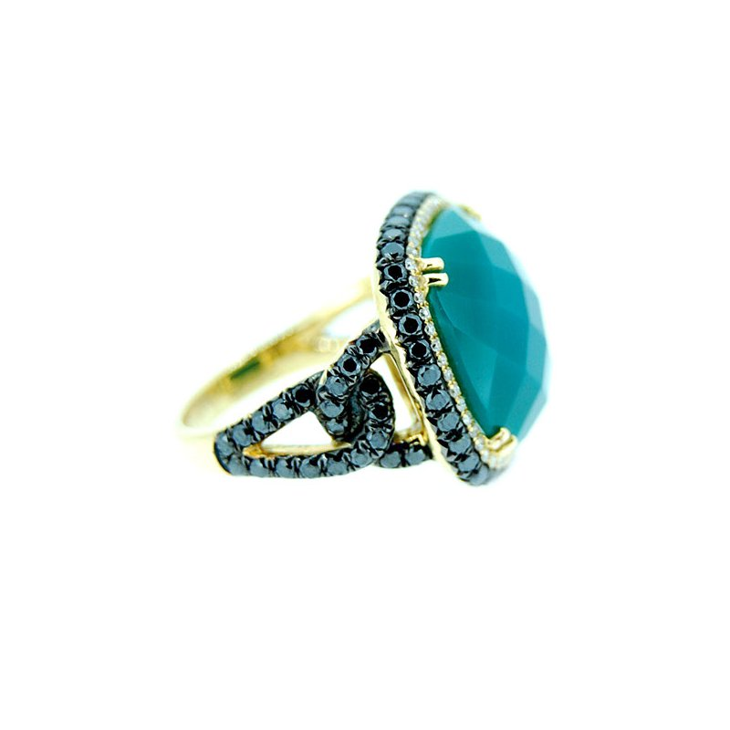 Sophia By Design Green Agate and Diamond Ring