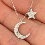 Decor Pave Diamond Star and Moon Necklace