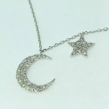 Pave Diamond Star and Moon Necklace