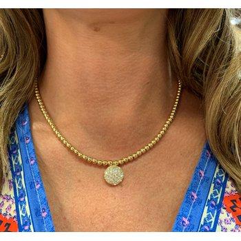 Pave Diamond Disc Beaded Necklace