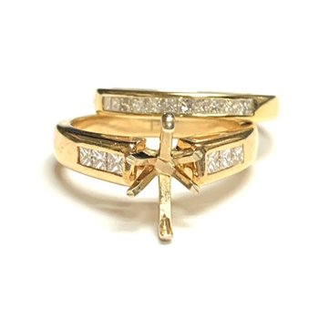 Princess Cut Diamond Ring Mounting Set