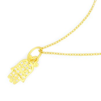 Diamond Hamsa Hand of God Pendant in Solid Gold