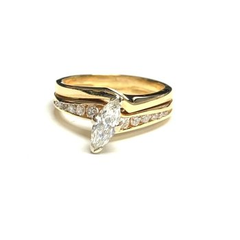 Marquise Curved Engagement Ring Set