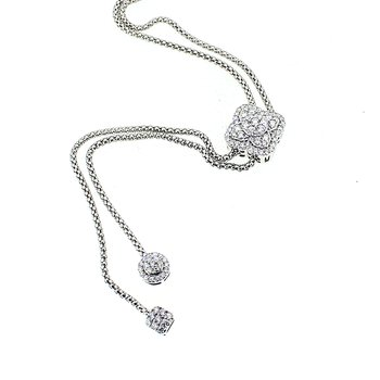 Adjustable Diamond Bolo Lariat Necklace