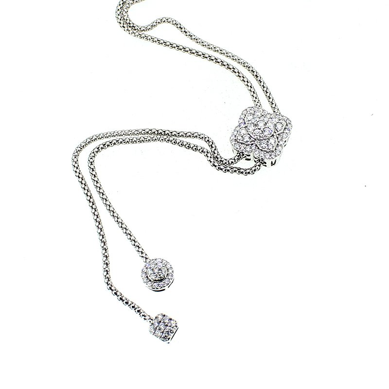 Adjustable Diamond Bolo Lariat Necklace
