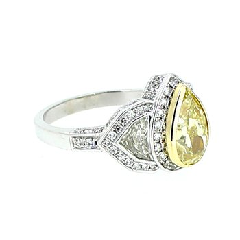 Fancy Yellow Pear Diamond Halo Ring