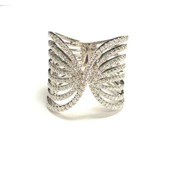 Wide 8 row Split Shank Diamond Ring