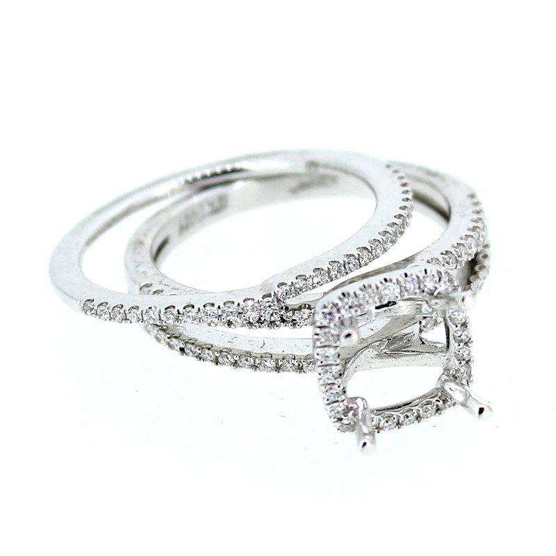 Decor Double Band Halo Ring Mounting with Diamond Band