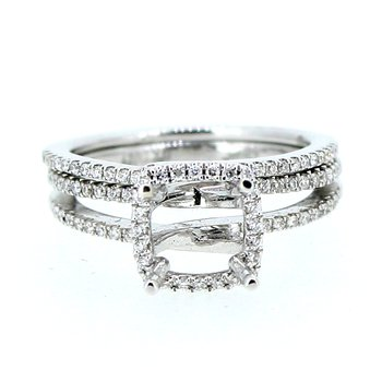 Double Band Halo Ring Mounting with Diamond Band