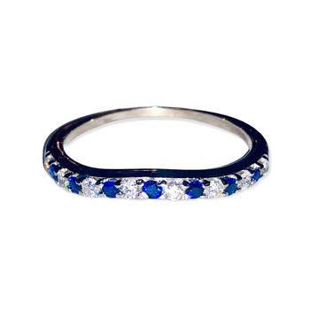 Curved Diamond Sapphire Band