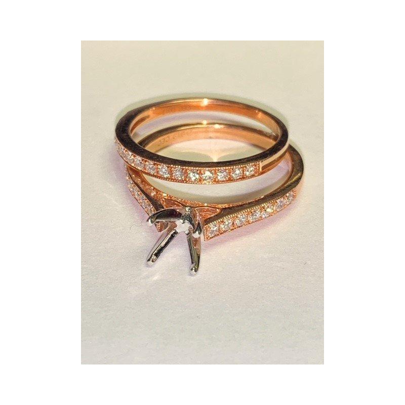 Decor Rose Gold Diamond Ring Mounting Set
