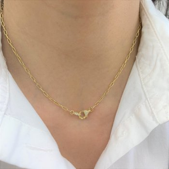 Paperclip Chain Necklace with Diamonds