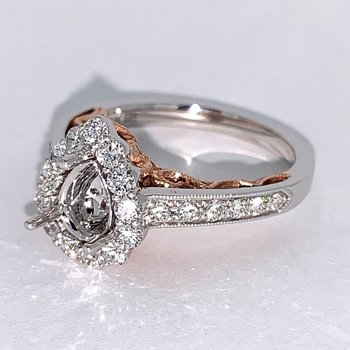 Rose & White Gold Pear Halo Engagement Ring Mounting