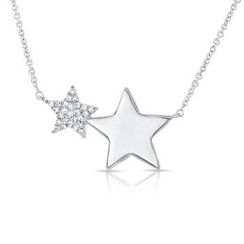 Pave Double Star Necklace