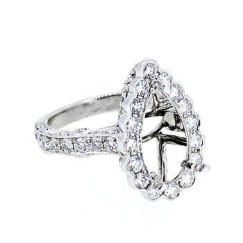Pear Halo Diamond Ring
