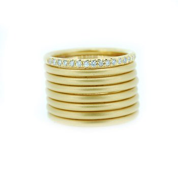 Matte Gold Wide Band with Diamonds