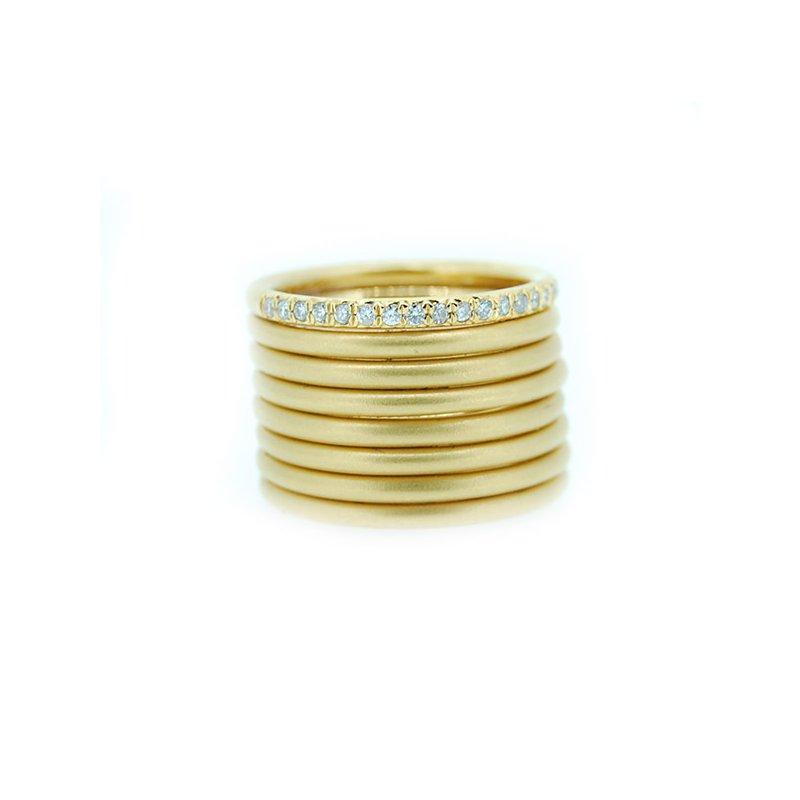 Marika Matte Gold Wide Band with Diamonds