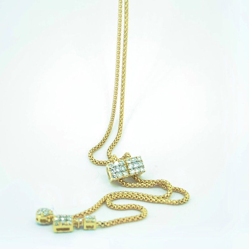 Decor Long Diamond Bolo Necklace