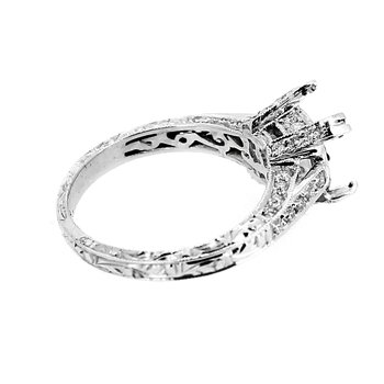 Engraved Band Diamond Ring Mounting