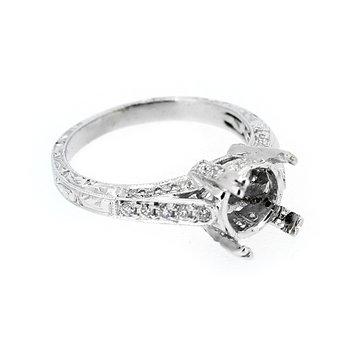 Engraved Band Diamond Ring Mounting