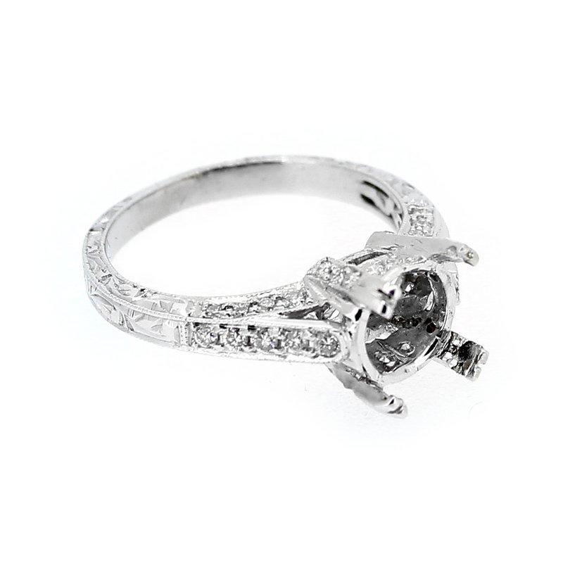 Decor Engraved Band Diamond Ring Mounting